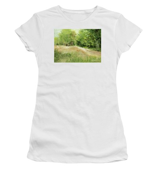 Woodland Trees And Dirt Road Women's T-Shirt