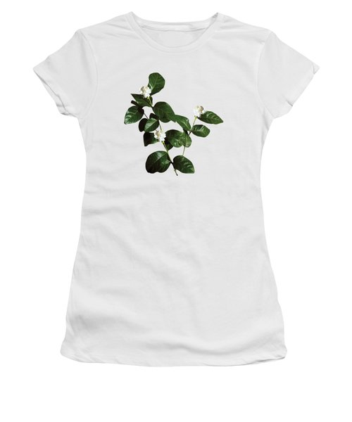 Floral Bud White Flora Withwhite Flora With Dark Leaves Women's T-Shirt