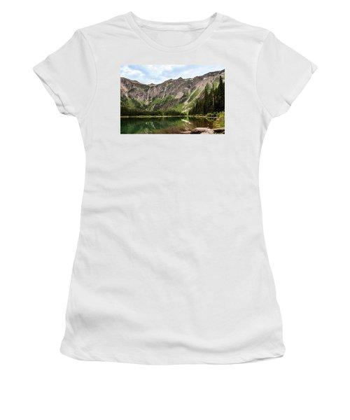 Floral Park Falls Monument Falls Avalanche Basin Falls Across Avalanche Lake Glacier National Park Women's T-Shirt