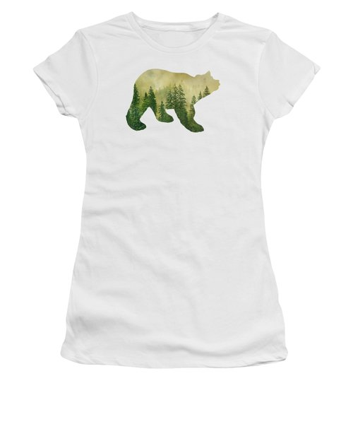 Forest Black Bear Silhouette Women's T-Shirt