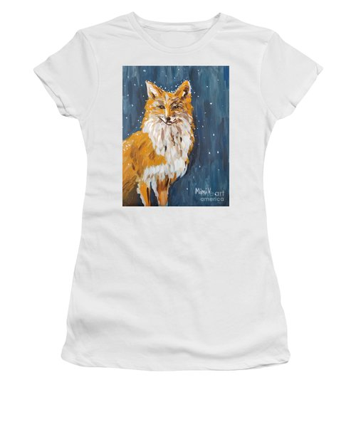 Women's T-Shirt featuring the painting Fox Winter Night by Maria Langgle