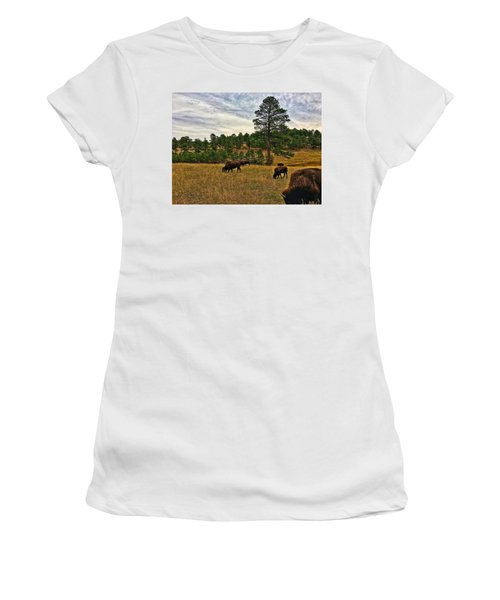 Women's T-Shirt featuring the photograph Genesee Bison Herd by Dan Miller