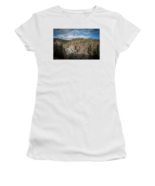 Women's T-Shirt (Athletic Fit) featuring the photograph Gibbon Falls In Yellowstone by Mark Duehmig