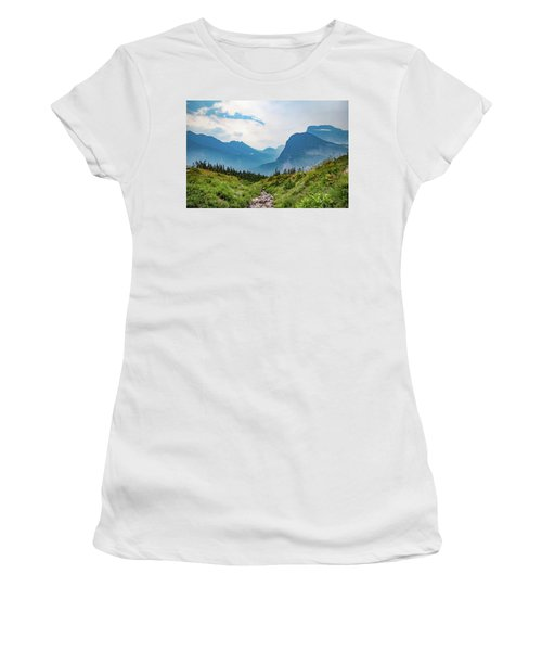 Women's T-Shirt (Athletic Fit) featuring the photograph Glacier Canyon Vista by Lon Dittrick