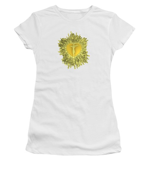 Women's T-Shirt featuring the digital art Golden Heart Of Jesus by Alberto RuiZ