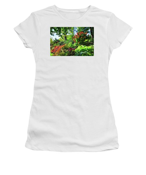 Women's T-Shirt (Athletic Fit) featuring the photograph Gorgeous Gardens At Cornell University - Ithaca, New York by Lynn Bauer