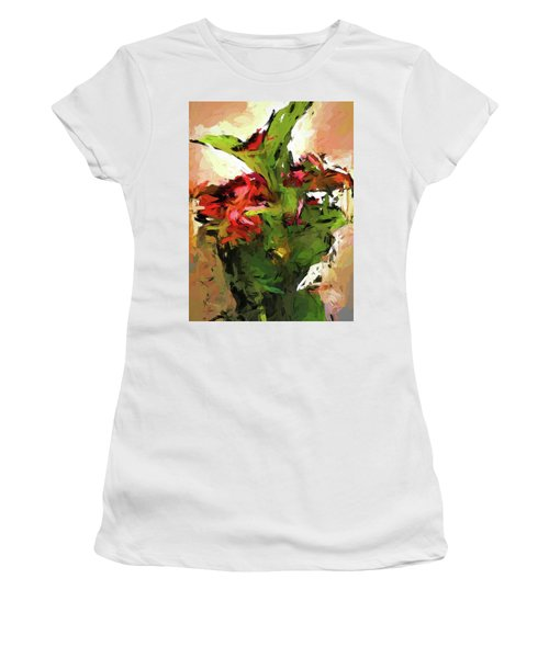 Green Leaves And The Red Flower Women's T-Shirt (Athletic Fit)