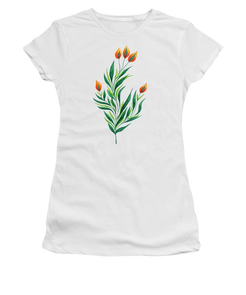 Green Plant With Orange Buds Women's T-Shirt