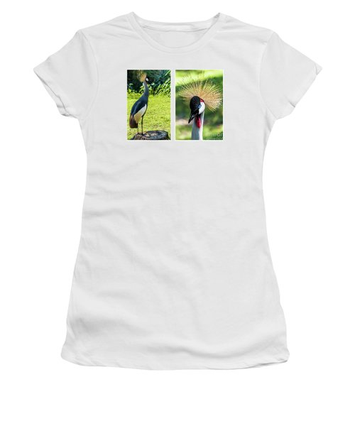 Grey Crowned Crane Gulf Shores Al Collage 8 Diptych Women's T-Shirt