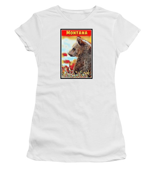Grizzly Bear Art Montana Wildlife Travel Poster Women's T-Shirt