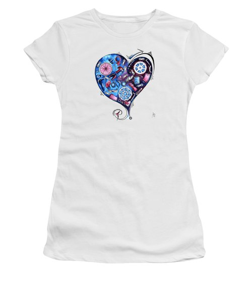 Heart Racing A Mad Shredder Biking Cycling Painting By Megan Duncanson Women's T-Shirt