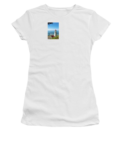 Women's T-Shirt (Athletic Fit) featuring the photograph Heceta Head Lighthouse Oregon by Rospotte Photography