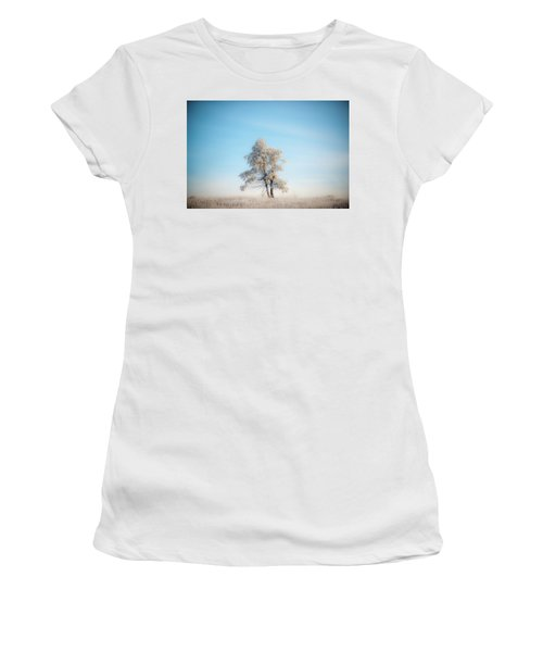 Women's T-Shirt (Athletic Fit) featuring the photograph Hoarfrost On The Prairie by Mark Duehmig