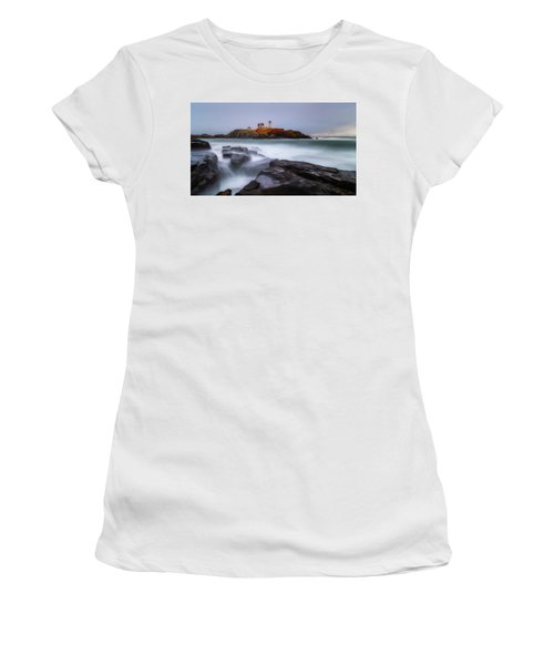 Women's T-Shirt featuring the photograph Holiday Lights, Nubble Lighthouse York Me. by Michael Hubley