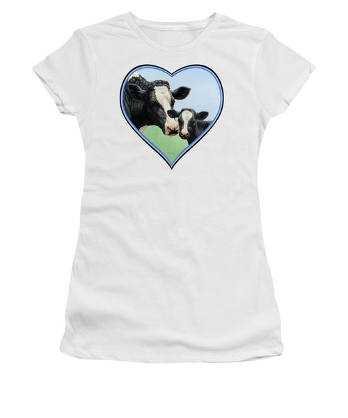 Holstein Cow And Calf Women's T-Shirt (Athletic Fit)