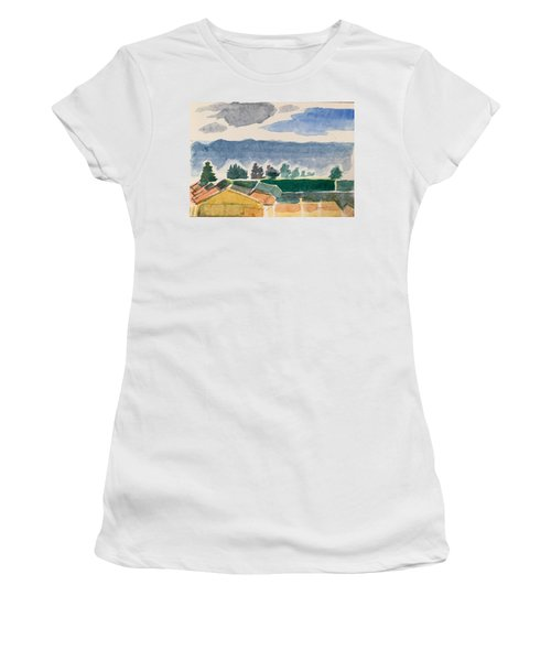 Houses, Trees, Mountains, Clouds Women's T-Shirt