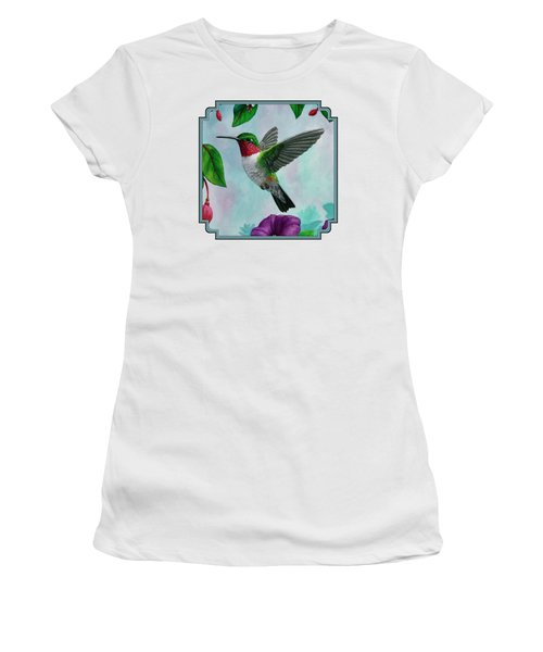 Hummingbird Flying In Spring Flower Garden 2 Women's T-Shirt