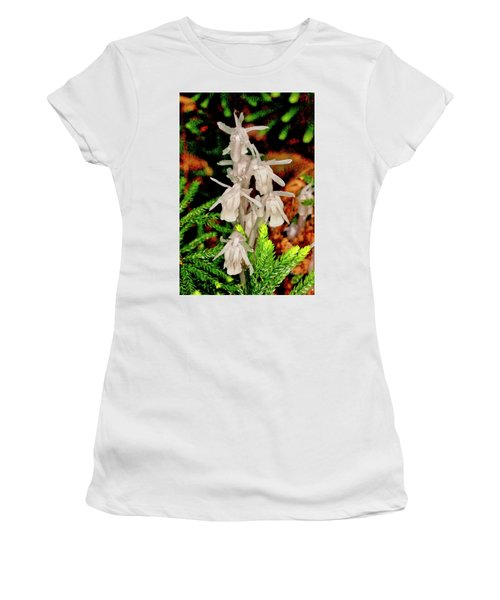 Indian Pipes On Club Moss Women's T-Shirt