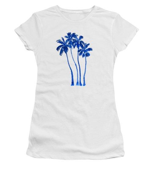 Indigo Blue Palm Trees Women's T-Shirt