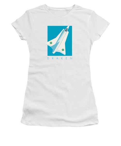 J35 Draken Swedish Air Force Jet Aircraft - Cyan Women's T-Shirt
