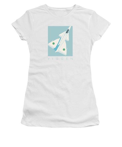 J37 Viggen Swedish Air Force Fighter Jet Aircraft - Sky Women's T-Shirt