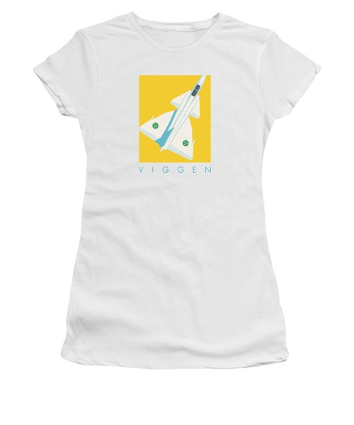 J37 Viggen Swedish Air Force Fighter Jet Aircraft - Yellow Women's T-Shirt