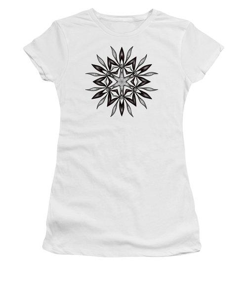 Kaleidoscopic Flower Art In Black And White Women's T-Shirt