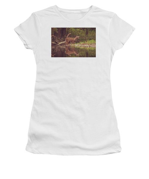 Women's T-Shirt (Athletic Fit) featuring the photograph Kissing Deer Reflection by Dan Sproul