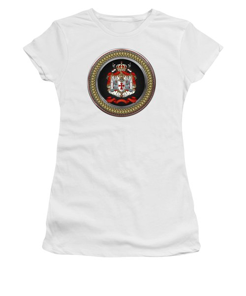 Knights Templar - Coat Of Arms Special Edition Over White Leather Women's T-Shirt