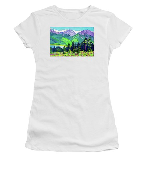 Women's T-Shirt featuring the painting La Plata Peak by Dan Miller