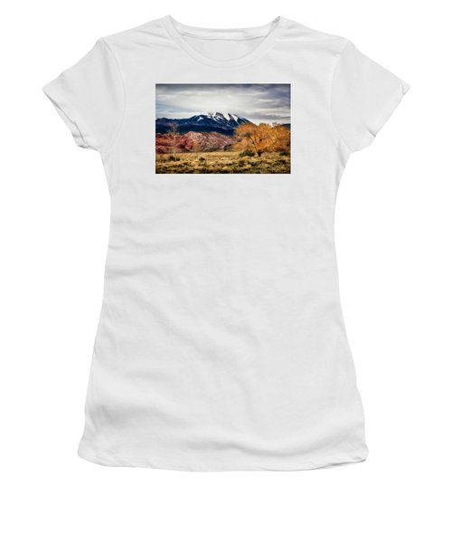 Women's T-Shirt (Athletic Fit) featuring the photograph La Sal Mountain Range by David Morefield