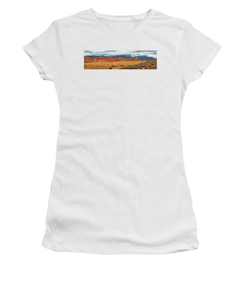 Women's T-Shirt (Athletic Fit) featuring the photograph La Sal Mountains by Andy Crawford