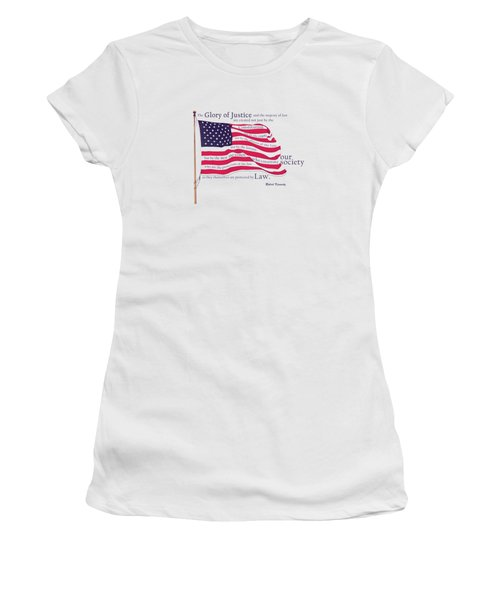 Law And Society American Flag With Robert Kennedy Quote Women's T-Shirt