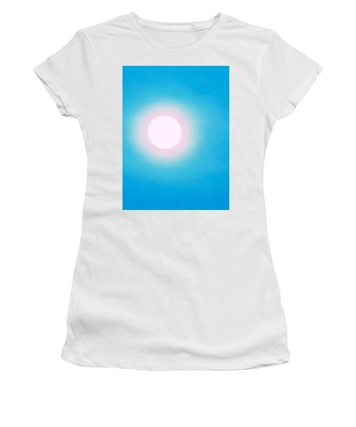 Women's T-Shirt featuring the photograph Leo Blue Moon In Turquoise by Judy Kennedy
