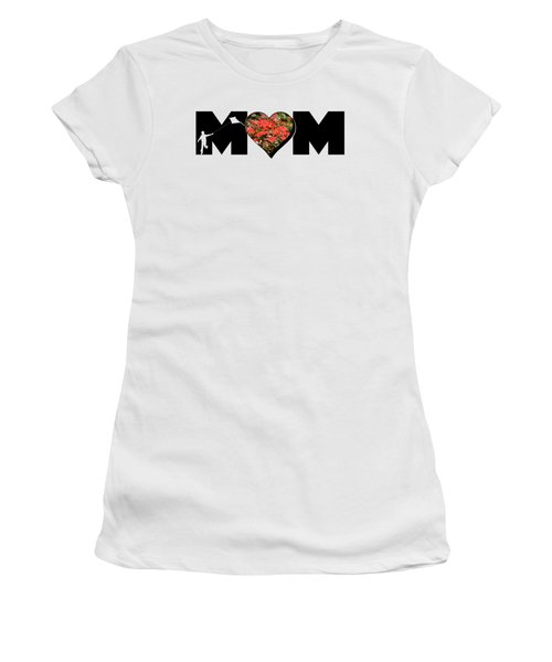 Little Boy Silhouette In Mom Big Letter With Cluster Of Red Roses In Heart Women's T-Shirt