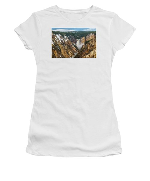 Women's T-Shirt featuring the photograph Lower Yellowstone Falls - Horizontal by Matthew Irvin