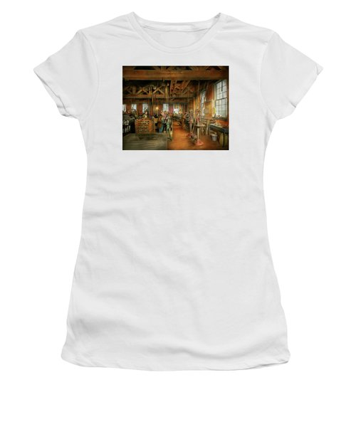 Women's T-Shirt (Athletic Fit) featuring the photograph Machinist - The Glazier Stove Company 1900 by Mike Savad