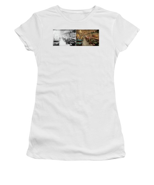 Women's T-Shirt (Athletic Fit) featuring the photograph Machinist - War - The Shell Dept 1900 - Side By Side by Mike Savad