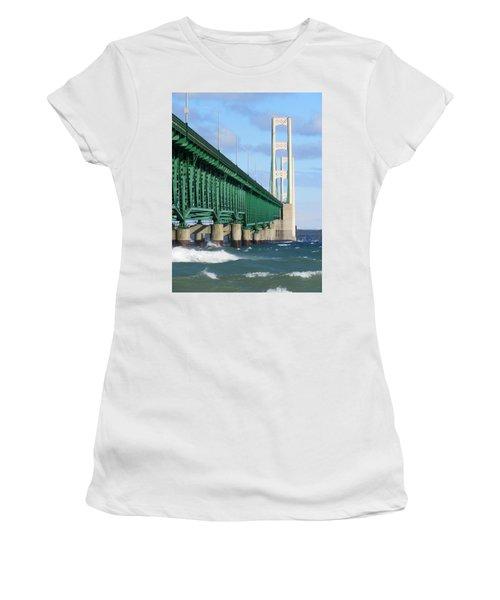 Mackinac Bridge And Waves Women's T-Shirt