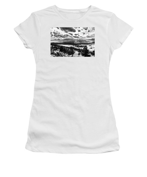 Women's T-Shirt (Athletic Fit) featuring the photograph Majestic Clouds Bw by James L Bartlett