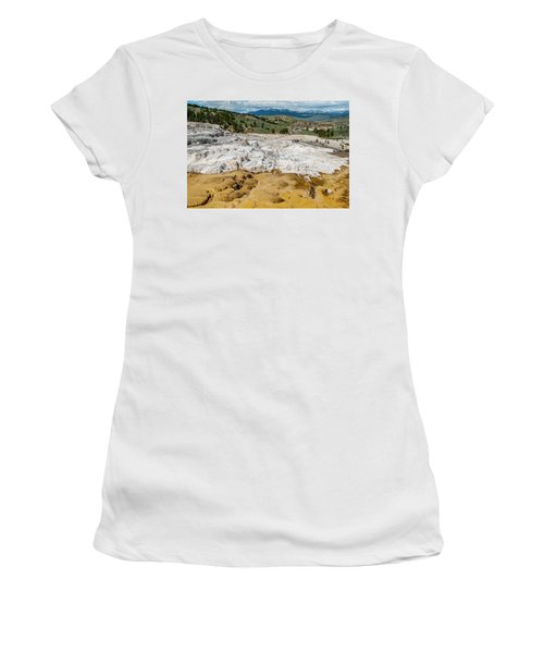 Women's T-Shirt featuring the photograph Mammoth Hot Springs And Hotel by Matthew Irvin