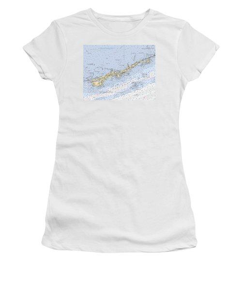 Marathon And Duck Keys Custom Noaa Nautical Chart Women's T-Shirt