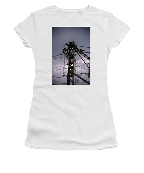 Women's T-Shirt featuring the photograph Mast Overhead Line Rail. by Anjo Ten Kate