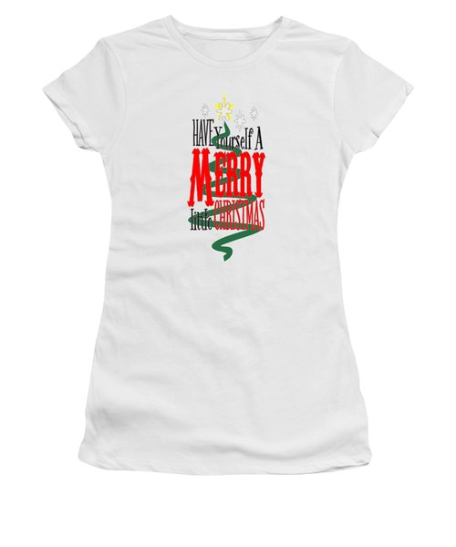Women's T-Shirt featuring the digital art Merry Little Christmas by Judy Hall-Folde