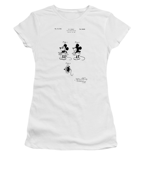 Women's T-Shirt featuring the digital art Mickey Mouse Patent Drawing From 1930 - Vintage Art Print, Nursery Decor, by David Millenheft