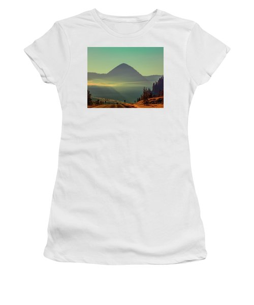 Women's T-Shirt (Athletic Fit) featuring the photograph Misty Mountain Morning by Pete Federico