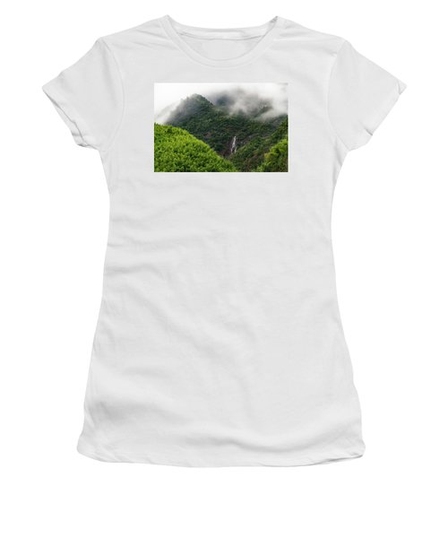 Women's T-Shirt featuring the photograph Misty Mountain Waterfall by William Dickman