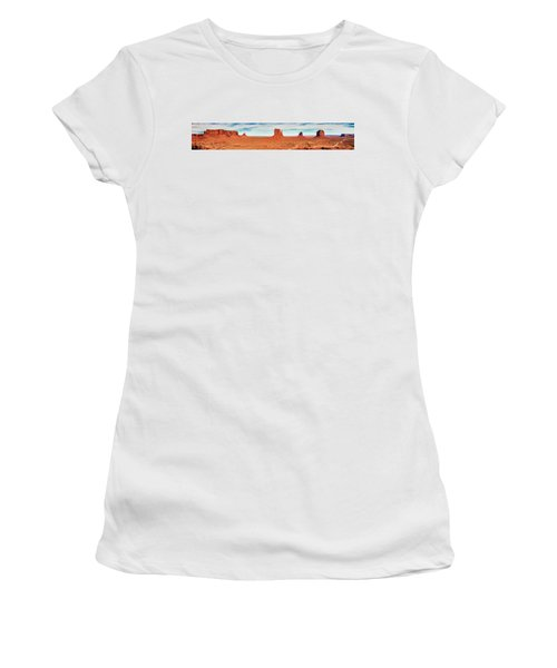 Women's T-Shirt (Athletic Fit) featuring the photograph Monument Valley Panorama by Andy Crawford