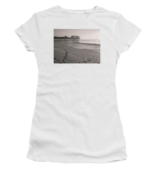 Women's T-Shirt (Athletic Fit) featuring the photograph Morning Walk On Old Orchard Beach by Dan Sproul