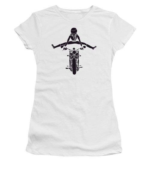 Moto Girl In Black Women's T-Shirt